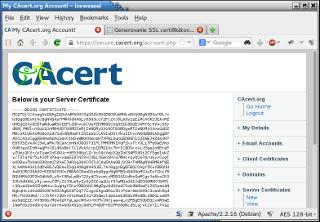 Vygenerovaný SSL certifikát od CAcert.org