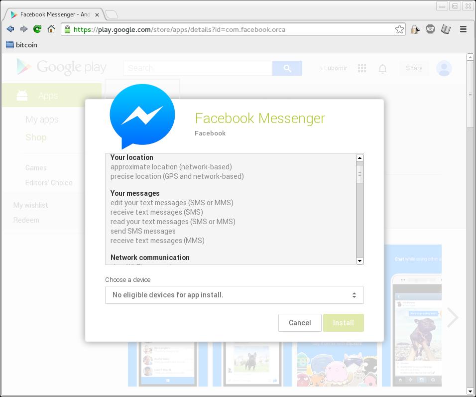 Prístupové práva aplikácie Facebook Messenger